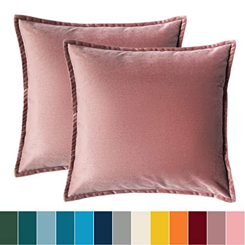 Bedsure Kissenhülle 50x50 Rosa Doppelpack, Kissenbezug 50 x 50 cm aus samt Mikrofaser, dekorative Kissenbezüge 2er Set weich und atmungsaktiv