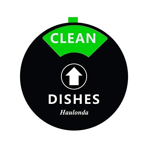 """Dishwasher Clean Dirty Magnet Sign with """"Running"""" and """"Empty"""" Perfect for Quiet Dishwashers, Non-Scratch Strong Magnet Backing, Residue Free Adhesive Included, 4 Inch Silver (Black)"""