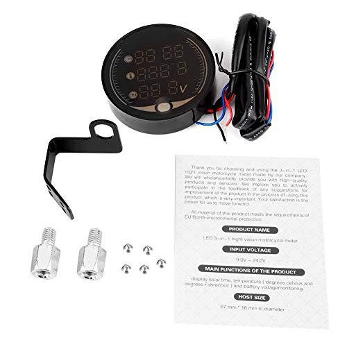 Outbit Thermometer - 3-in-1-Motorrad Elektronisches Digital-Thermometer Voltmeter Zeituhr Temperaturanzeige