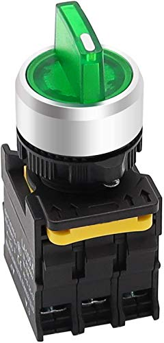 Tnisesm - Interruttore rotativo a LED verde, 110 – 220 V, 22 mm, 2 NO 3 posizioni, impermeabile, IP65, 10 A, 600 V, LA155-A1-20XSD-G