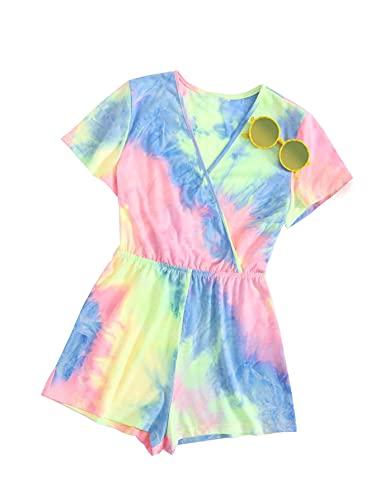 Toddler Girls Summer Clothes Tie-dye Romper Bodysuits Jumpsuit One-Piece Kid Summer Outfit Set(8Y)