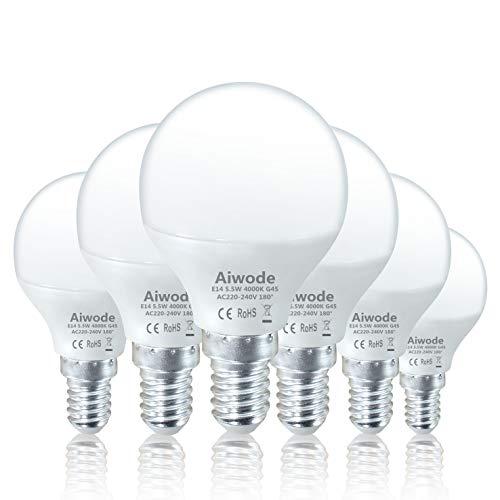 Aiwode E14 LED Lampe Energiesparlampe,5.5W LED Birne 470Lumen Glühbirne,Naturweiß 4000K,Ersetzt 40W,G45 180° Abstrahlwinkel,6er-Pack.