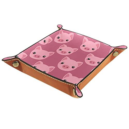 Bandeja de Cuero cara de cerdo lindo Almacenamiento Bandeja Organizador Bandeja de Almacenamiento Multifunción de Piel para Relojes,Llaves,Teléfono,Monedas