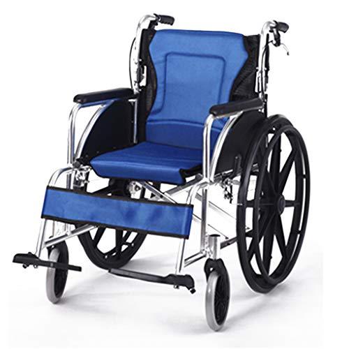 Fire Cloud Lichtgewicht inklapbare transportrolstoel met groot opbergkussen, draagbaar zitvlak, inklapbaar pedaal en remgreep, 17-inch zitje