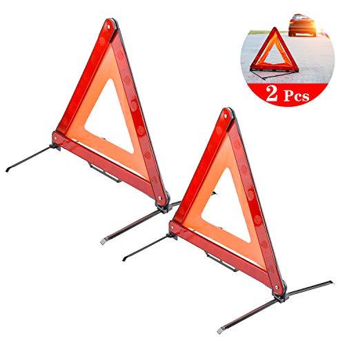 HENTEK 2Pack Warndreieck Notfalldreieck Reflektieren Faltbar Pannenhilfe Warnsignaldreieck Pannendreieck für Autozubehör Notfälle Unfall 43CM