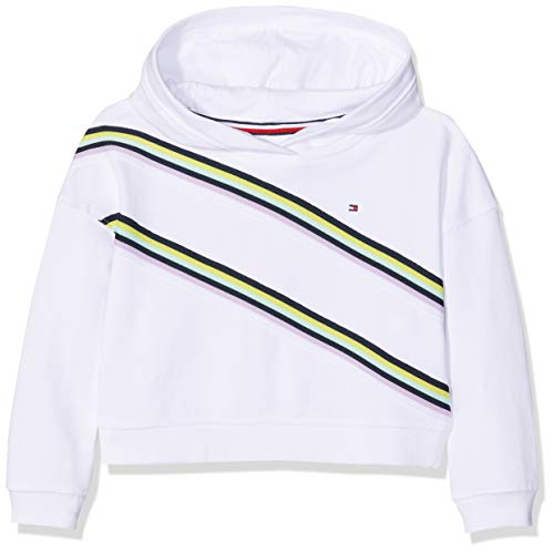 Tommy Hilfiger Mädchen Knitted Tape Hoodie Kapuzenpullover, Weiß (Bright White 123), 110 (Herstellergröße: 5)