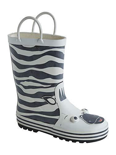 Vertbaudet Gummistiefel für Jungen, Anziehtrick weiß/Zebra 32