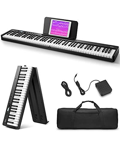 Eastar Pieghevole Pianoforte Digitale 88 Tasti Full Size Semi Pesati per Principianti, Pianoforte Elettrico Portatile Bluetooth con Borsa per Pianoforte, EP-10