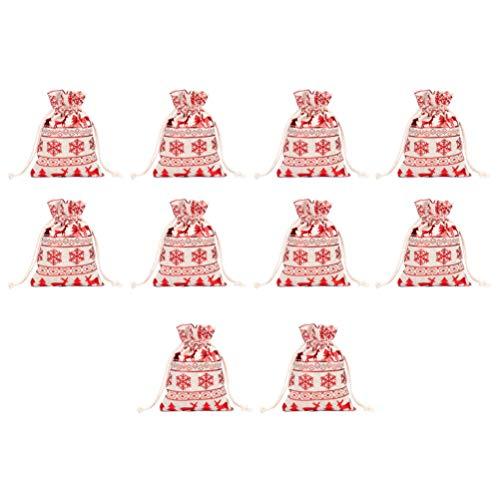 NUOBESTY 10 Stücke Geschenksäckchen Weihnachten Säckchen Jutesäckchen Nikolaussäckchen Kleine Jutebeutel Adventskalender Beutel Süßigkeiten Taschen Weihnachtsmann Sack
