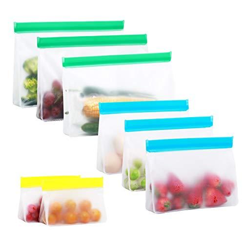 Wiederverwendbarer Aufbewahrungsbeutel für Lebensmittel, flüssige Sandwich-Snack-Speck-Obstbeutel, Lunch-Bag-Set, luftdichtes Gefrierfach, ideal für die Aufbewahrung von Druckverschluss, 8 pcs