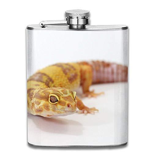 Edelstahl Flachmann 7 Unzen (kein Trichter) Leopard Gecko voll bedruckt