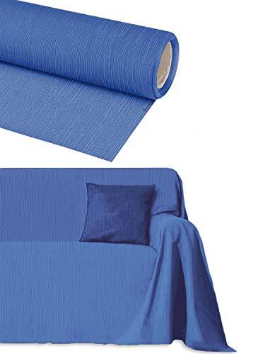 Byour3® Funda De Sofá Algodón 3 4 5 Plazas Granfoulard Tela Sofa Cubre Todo Protector De Sofás Forma de L U Chaise Longue Derecho Izquierdo Lavable (Azul Claro, 4 plazas 400x275 cm)