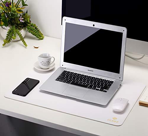 GUBEE PU-Leder Multifunktionsbüro-Schreibtischunterlage Mauspad,wasserdichte rutschfeste Anti-Schmutz-Mausunterlage für Büro und Zuhause, Reisen (Weiß/Silber)