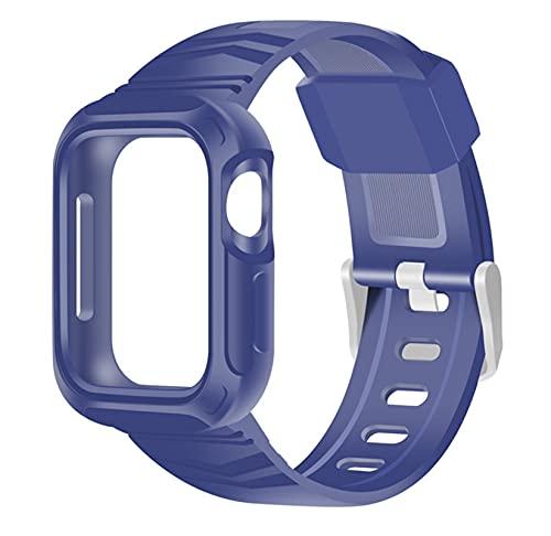 ZLRFCOK Correa transparente + funda para Apple Watch 5 Band 40 mm silicona deportiva Loop Series 6 SE 5 4 correa 40 mm 44 mm plástico (color de la correa: azul, ancho de la correa: 40 mm)
