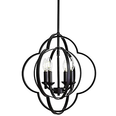 VINLUZ Farmhouse Chandeliers 4-Light Black Finish Metal Globe Orbits Kitchen Island Pendant Lighting with Pivoting Interlocking Rings, Modern Ceiling Hanging Lamp for Dining Room Bedroom Hallway