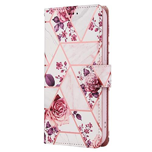 Coque Xiaomi Redmi Note 9/Redmi 10X 4G en cuir PU résistant aux chocs avec clip magnétique et support 3 emplacements pour cartes avec sangle Motif floral Or rose