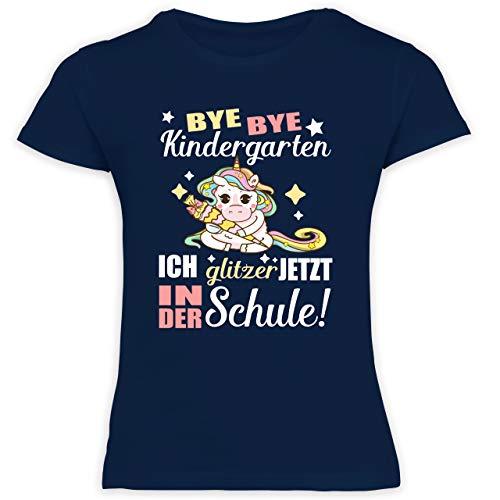 Einschulung und Schulanfang - Ich Glitzer jetzt in der Schule Einhorn mit Schultüte - 128 (7/8 Jahre) - Navy Blau - Kinder Shirts Glitzer - F131K Schulanfang - Schulanfang Mädchen T-Shirt Kinder