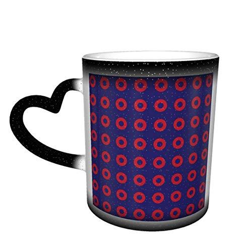 Taza cambiante de color personalizado Phish rojo Donut círculos en azul sensible al calor taza con para cumpleaños oficina cerámica café novedad idea