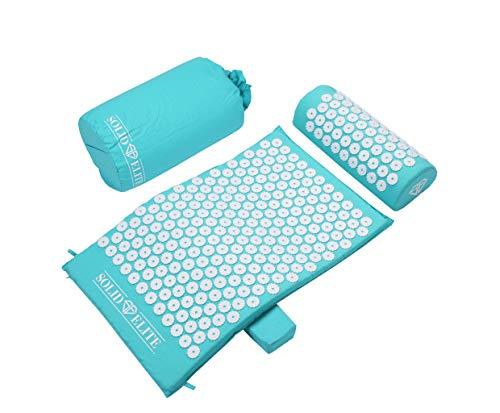 SolidElite® Akupressurmatte Set mit Rückenkissen für unteren Rückensupport und entspanntes Liegen inklusive Nackenkissen. Lösung von Muskelverspannungen und Linderung von Rücken - und Nackenschmerzen