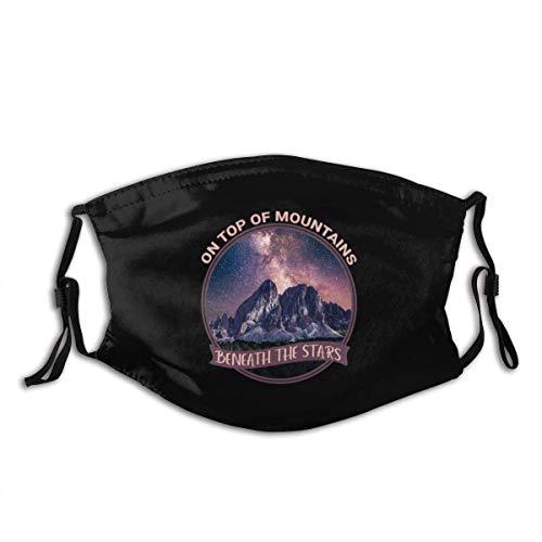 Mundschutz Gesichtsbedeckung mit Ihren Bergen auf Bergen unter den Sternen 5-schichtige Aktivkohlefilter für Erwachsene im Freien Gesichtsdekorationen für Erwachsene