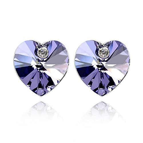 LIUBAOBEI Pendientes De Mujer Aro,Pendientes De Botón De Color Plateado De Corazón Clásico para Mujer Cristales De Fiesta De Perforación Boda Rhinestone Girl Jewelry-Color: 13_As_Shown