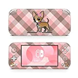 ZOOMHITSKINS Switch Lite Skin Decal Stickers, Calin Chihuahua Dog Lovers Cute Cartoon Kawaii Puppy Polka Dots Pink Pastel, High Quality, Durable, Bubble-free, Goo-free, 1 Console Skin, Made in USA