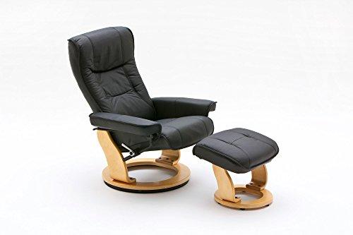 lifestyle4living Relaxsessel aus Leder in Schwarz mit Hocker | Fernsehsessel ist 360° drehbar und hat manuell verstellbare Rückenlehne | Sessel lädt zum Entspannen EIN