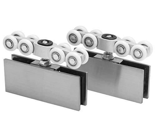 Schiebetürbeschlag aus Edelstahl für Glasschiebetüren passend für 25mm Laufschiene Paarpreis