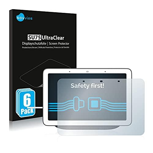 savvies Protector Pantalla Compatible con Google Nest Hub (6 Unidades) Película Ultra Transparente