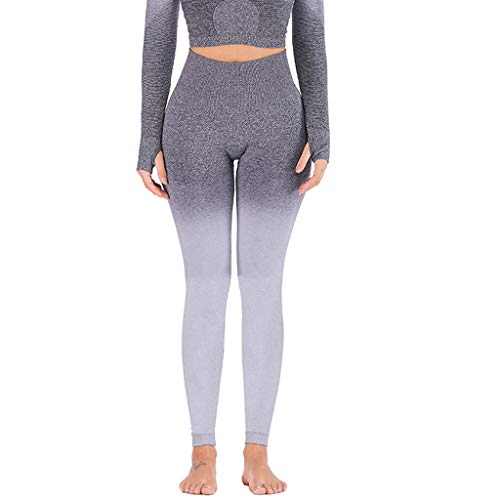 Fenverk Damen Sport Leggings Yoga Hose Laufhose Fitnesshose Jogginghose Gemustert S-XL MEHRWEG,Damen Yoga-Leggings mit Farbverlauf,Damen Colour Block-Sportleggings(Grau,XL)