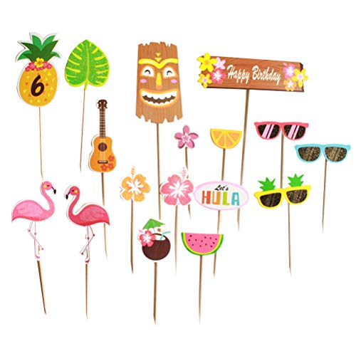 Amosfun Hawaii Thema Kuchen Topper Flamingo Papier Kuchen Topper Kuchen Dekoration für Luau Hawaii Party 18 Stücke