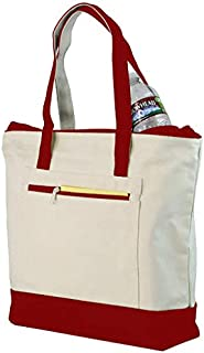 Cotton Canvas Tote Bag with Zipper Closure, Shopping Bags For Women, Extra Zipper Pocket, 100% Cotton Foldable Tote Bags, ...
