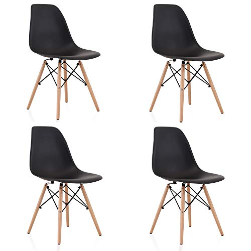 Naturelifestore 4er Set Esszimmerstühle/Lounge-Stühle im Modernen Design, Sitz aus Polypropylen und Beine aus Buchenholz (Schwarz)