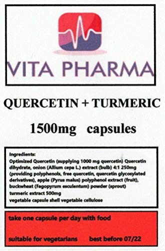 QUERCETIN + Turmeric high Strength 1500mg 30 Capsules, Immune System, Blood Vessels, Cholesterol