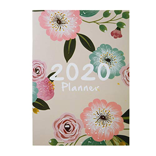 STOBOK 2020 Planner Notebook A4 Diary Tropical Flower Monthly Daily Efficiency Agenda Planner Schedule Study Stationery (Beige)