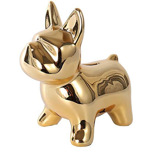 DELICLI Fashion Bulldog Statue Home Decor Creative Gift Modern Minimalist Decorative Ornaments Coin Piggy Bank Ornaments (Gold)