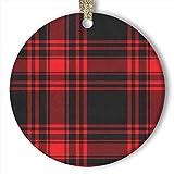 EaYanery Adorno de tartán negro rojo tartán (redondo) personalizado de...