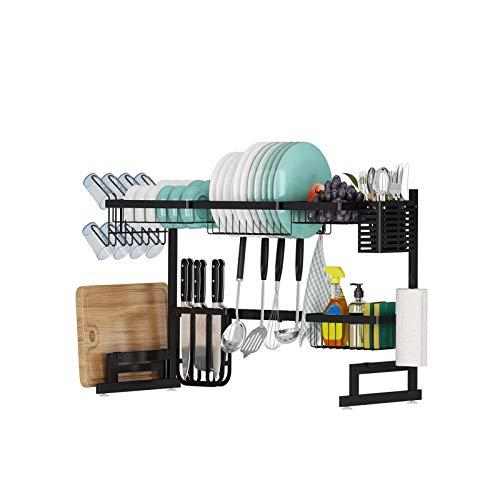 Dish rack above the sink, adjustable (35.9') large dish drainer, for kitchen countertop storage, plate rack with cutlery rack and 5 hooks, sturdy stainless steel storage rack