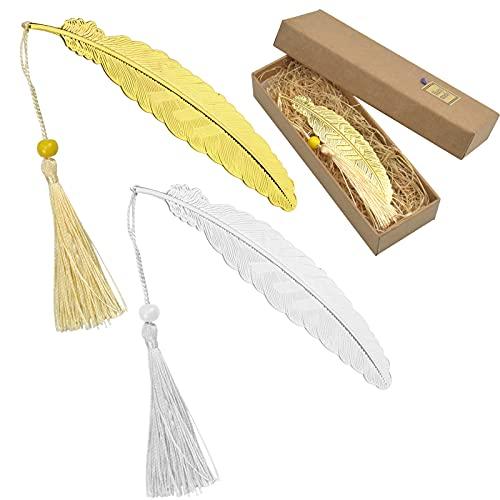 Pinsheng Marcapáginas de plumas de metal con borlas y cuentas, regalos únicos para niños, estudiantes, profesores y amigos (2 piezas)