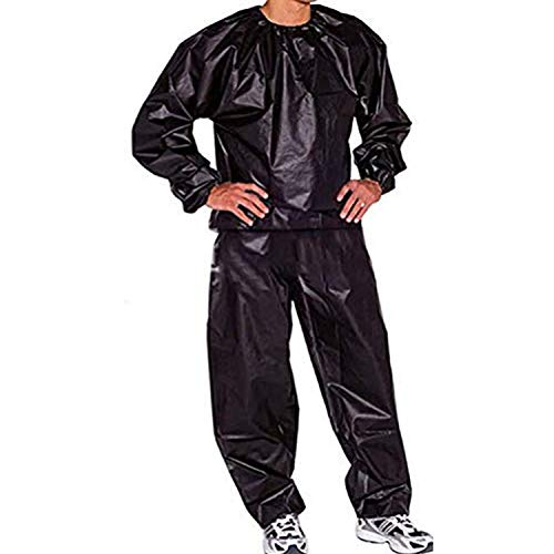 GOLD XIONG PADISHAH 2020 Upgrade New Heavy Duty Sauna Suits Exercise Sweat Suits,Sauna Suit for Women Weight Loss Plus Size Sauna Suit for Men (Black,3XL)
