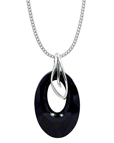 Crystals & Stones **HELIOS** 30 mm *VIELE FARBEN* Halskette mit Silberkette aus 925 Silber mit original Swarovski® Elements Anhänger,Halskette mit Schmucketui (Schwarz)
