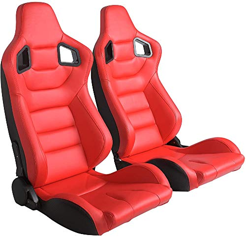 N/X Homepeaz Racing Seats, Universal Red Leather Racing Seats Pair w/Red Stitching with Double Sliders Set of 2