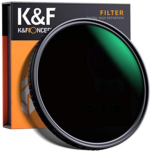 K&F Concept Variable ND Filter 62mm Nano Slim Variabler Graufilter ND8-128 (3-7 Stop) Neutral Dichte Graufilter
