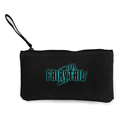 Fairy Tail Canvas Coin Purse Travel Makeup Pencil Pen Case Clip with Zipper Cash Pouch for Students Women and Men