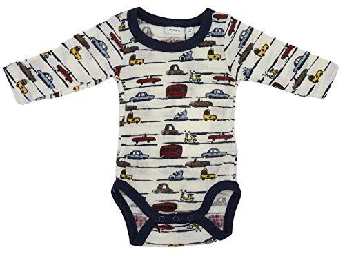 NAME IT Body à manches longues pour bébé - Motif voiture - 100 % laine - 62