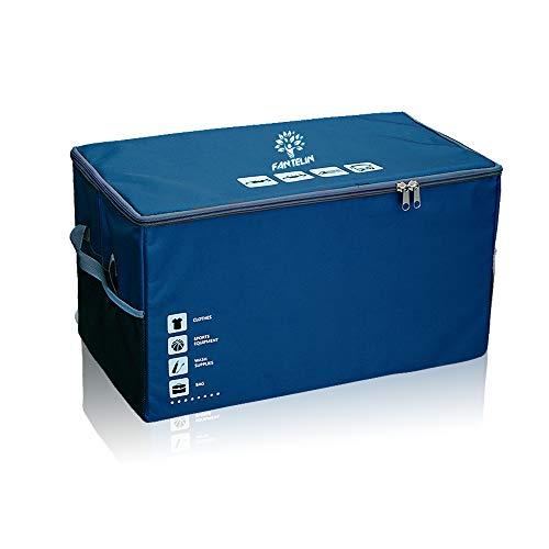 FANTELINオートカートランクオーガナイザー折りたたみ式カバー防水ノンスリップボトムカーゴストレージ複数のコンパートメントを任意の車、SUV、ミニバン、大容量75L、洗える(青い)