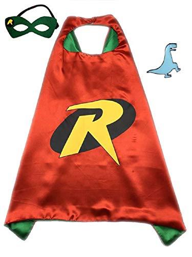 Superhero Cape and Mask Halloween Costume Set for Boys and Girls (Robin)