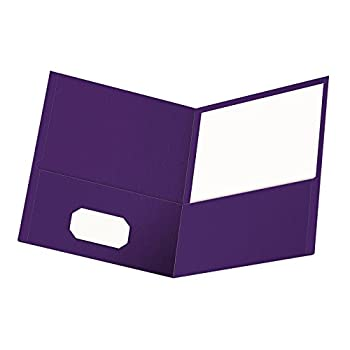 Oxford Twin-Pocket Folders Textured Paper Letter Size Purple Holds 100 Sheets Box of 25  57514EE  8-1/2 x 11