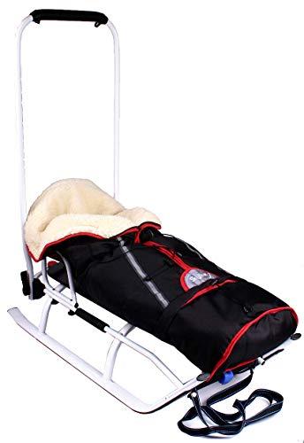 3in1 Kinder Schlitten Sport Rodel für Kinder, Babys mit Rückenlehne, Fußsack, Schiebegriff und Gurt aus Aluminium LED