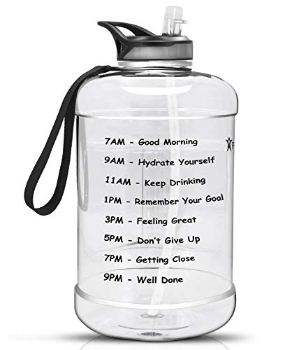 Favofit 1 Gallon Water Bottle with Time Marker, 128 oz Extra Large Motivational Water Bottle with Straw, BPA-free plastic, Reusable, Easy Sipping for Outdoor Sports/ Fitness/ Gym, Clear